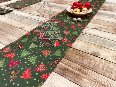 Green Red Festive Christmas Trees Christmas Cotton Fabric Table Runner