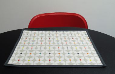 Stone Grey Marguerite Floral Matte Finish Oilcloth Wipe Clean Set of 4/6 or 8 Placemats