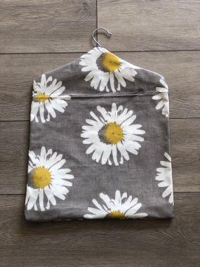Grey Capri Daisy Wipe Clean Oilcloth Peg Bag