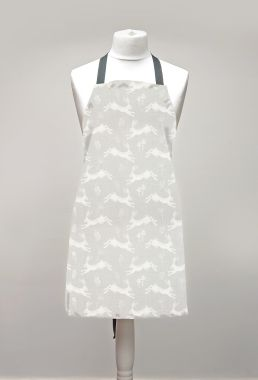 Grey Leaping Hares Adult or Child Oilcloth Wipe Clean Apron Leaping Hares Matte Finish