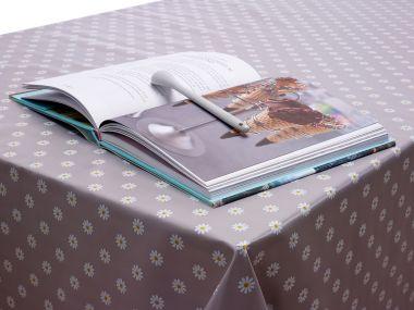 Grey Small Daisy PVC Vinyl Wipe Clean Tablecloth