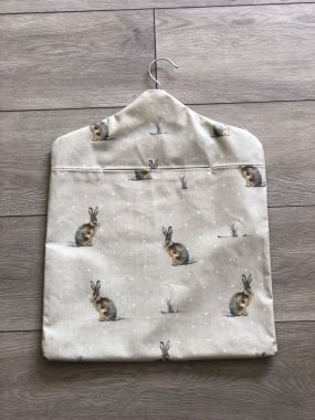 Hartley Hare Rabbits Wipe Clean Oilcloth Peg Bag