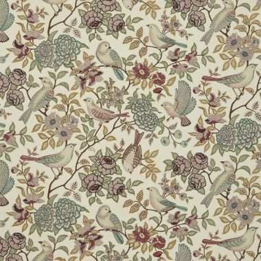 Beige Natural Red Duck Egg Heritage Birds and Floral Matt Finish Oilcloth Wipe Clean Tablecloth