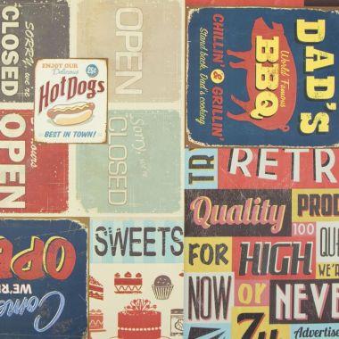 Vintage American Diner PVC Vinyl Wipe Clean Tablecloth