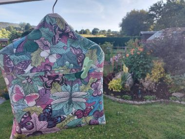 Green Dragonflies and Bees Wipe Clean Oilcloth Peg Bag