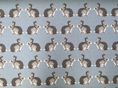 Duck egg and Grey Rabbits Cotton Curtain and Upholstery Fabric