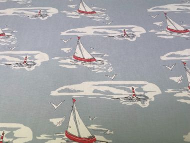 Duck egg Nautical Sailing Boats and Lighthouses Curtain and Upholstery Fabric