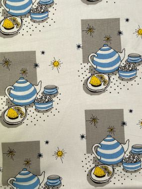 Natural and Duck egg Afternoon Tea Party Cotton Curtain and Upholstery Fabric