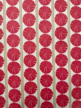 Salmon Pink and Sage Green Circles Matte Oilcloth Wipe Clean Tablecloth
