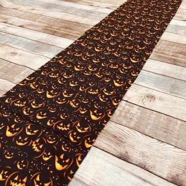 Black and Orange Jack O' Lanterns 100% Cotton Fabric Table Runner