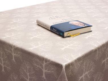 Light Grey Oak Trees Oilcloth Matt Finish Wipe Clean Tablecloth