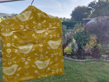 Narvik Ochre Yellow Wipe Clean Oilcloth Peg Bag