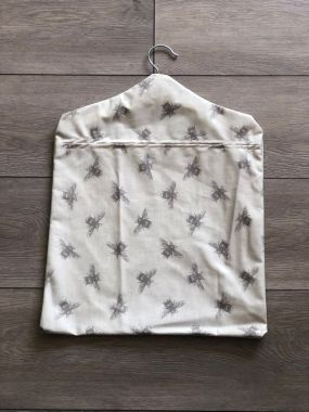 Natural and Grey Bees Wipe Clean Oilcloth Peg Bag