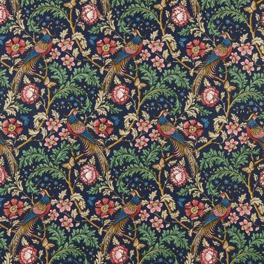 Oakmere Indigo Pheasants & Floral 100% Cotton Curtain and Upholstery Fabric
