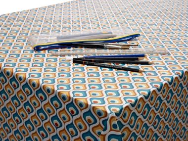 Ochre and Duck Egg Abstract PVC Vinyl Wipe Clean Tablecloth