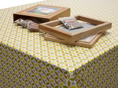 Ochre Yellow and Mustard Small Floral Petals PVC Vinyl Wipe Clean Tablecloth