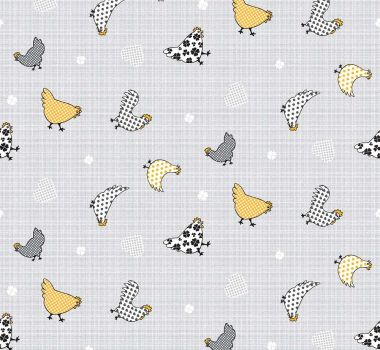 Ochre Yellow Country Farmhouse Chickens PVC Vinyl Wipe Clean Tablecloth