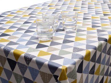 Sage Grey, Black & Yellow Scandic Wipe Clean Tablecloth