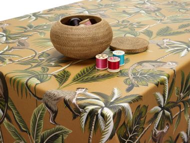 Narvik Ochre Yellow Wipe Clean Oilcloth Tablecloth