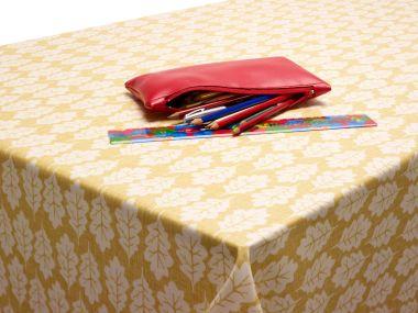 Ochre Yellow Oak Leaves Oilcloth Matt Finish Wipe Clean Tablecloth
