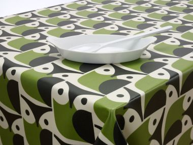 Orla Kiely Green and Black Owls Oilcloth 100cm Round