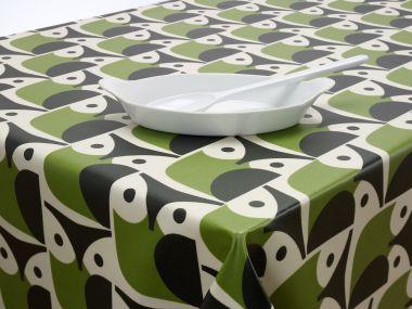 Orla Kiely Green and Black Owls Oilcloth 132cm x 128cm