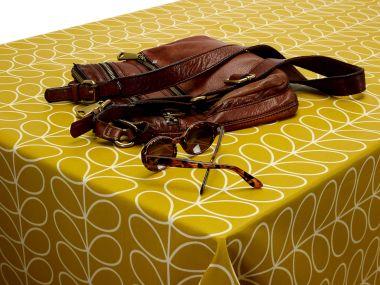 Orla Kiely Linear Stem Mustard 120cm Round with Cream Bias Binding
