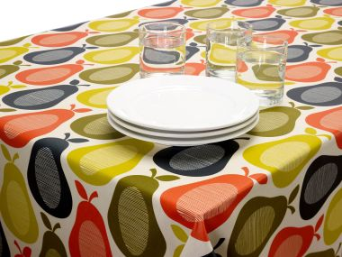 Orla Kiely Linear Scribble Pear Oilcloth 132cm Round with Black Bias Binding