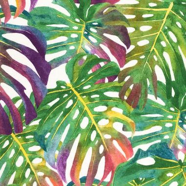 Green and Pink Tropical Leaves Curtain and Upholstery Fabric