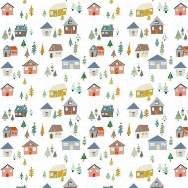 White Nordic Alpine Scene Christmas Oilcloth Wipe Clean Tablecloth
