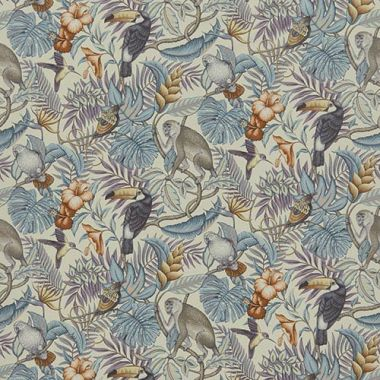 Rainforest Henna Tropical Toucans and Monkeys 100% Cotton Curtain and Upholstery Fabric