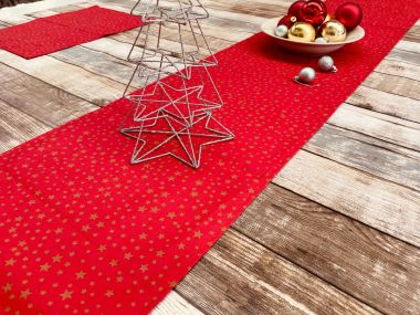 Red and Gold Christmas Stars Christmas Cotton Fabric Table Runner