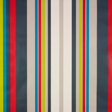 Red Taupe Blue Multi Stripe PVC Vinyl Wipe Clean Tablecloth