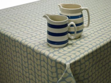 Retro Blue Small Tulips Oilcloth Wipe Clean Tablecloth