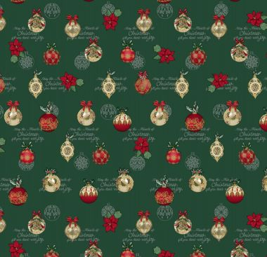 Deep Green Red Gold Decorative Christmas Baubles PVC Vinyl Wipe Clean Tablecloth