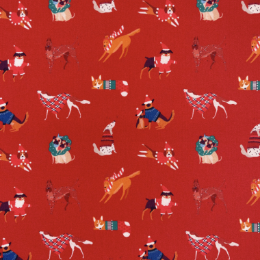 Red Festive Christmas Dogs Crafting and Quilting Fabric