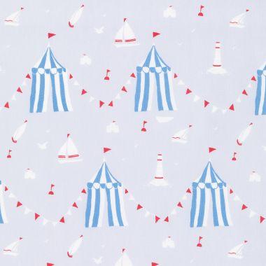 Sky Blue Sandcastles Nautical 100% Cotton Fabric