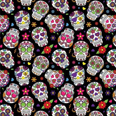 100% Cotton Crafting and Quilting Fabric - Day of the Dead Sugar Skulls Black Fabric