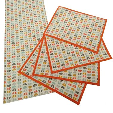 Odense Burnt Orange Oilcloth Wipe Clean Set of 4 Placemats