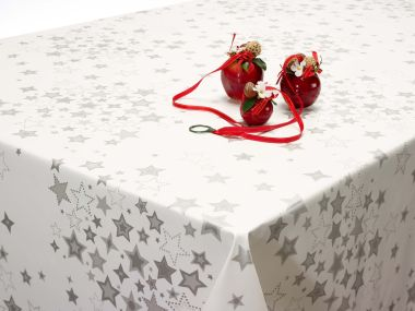 White and Silver Christmas Stars PVC Vinyl Wipe Clean Tablecloth