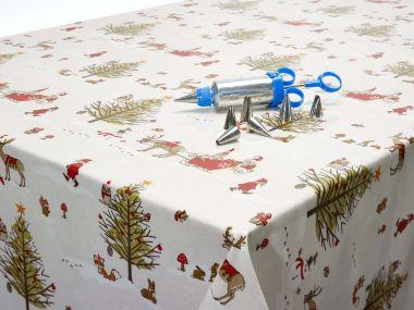 Beige Christmas Wonderland Xmas Oilcloth Tablecloth