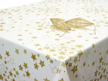 Cream and Gold Stars Xmas Wipe Clean Tablecloth