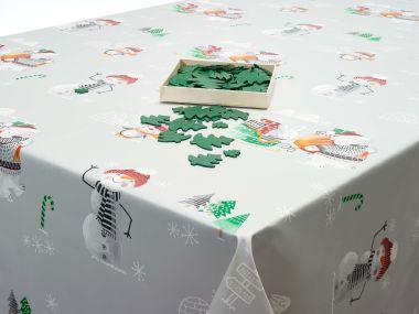 Grey Christmas Snowmen, Penguins and Polar Bears PVC Vinyl Wipe Clean Tablecloth