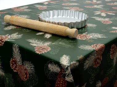 Green Stars and Pine Cones Christmas Wipe Clean PVC Vinyl Tablecloths