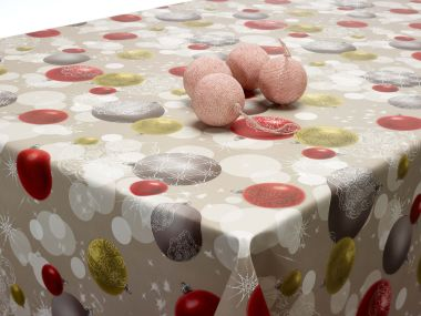 Grey Christmas Silver Red Festive Baubles PVC Vinyl Wipe Clean Tablecloth