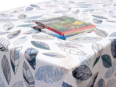 Teal Abstract Modern Floral PVC Vinyl Wipe Clean Tablecloth