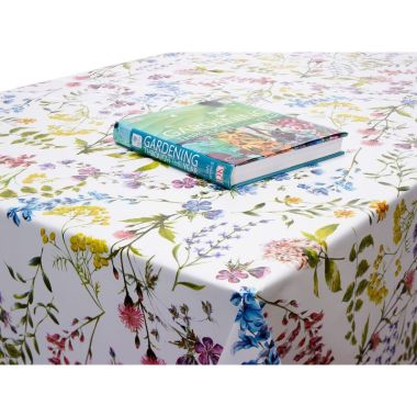 Multi Wild Flowers Floral PVC Vinyl Wipe Clean Tablecloth 200cm Round with Centre Seam