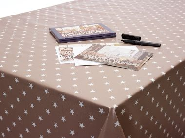Taupe Little Stars PVC Vinyl Wipe Clean Tablecloth