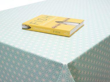 Aqua Cube Geometric PVC Vinyl Wipe Clean Tablecloth