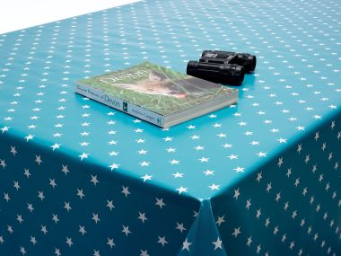 Turquoise Blue Little Star PVC Vinyl Wipe Clean Tablecloth